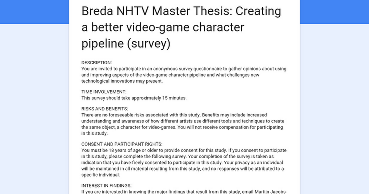 creating a masters thesis