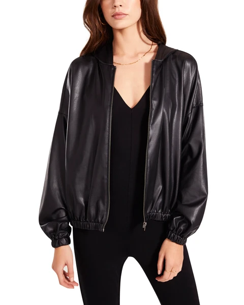 petite leather jacket with a v-neck blouse