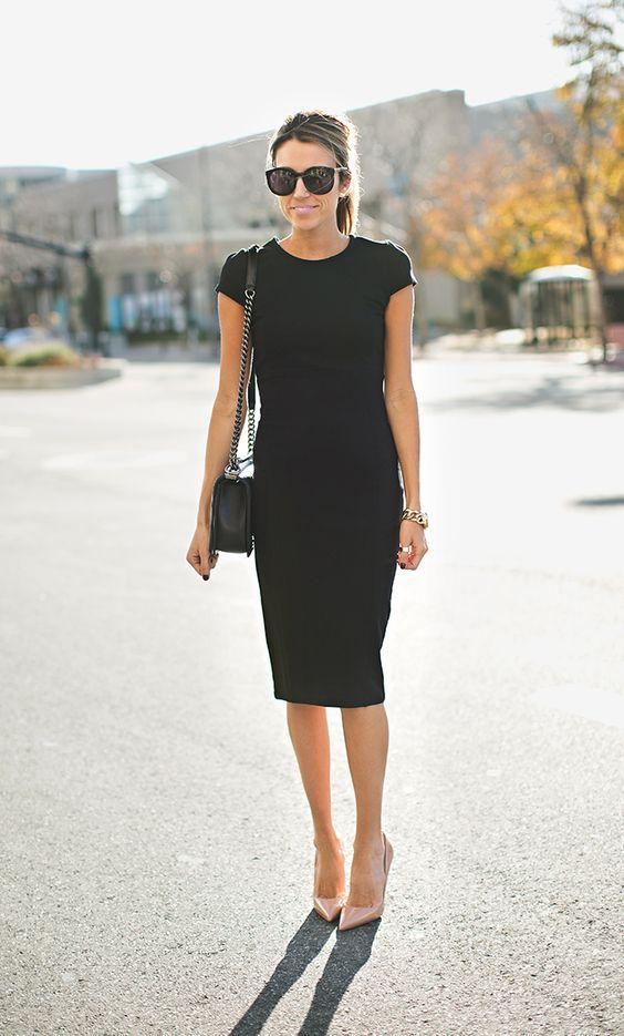 Pretinho básico + sapato nude = look clássico para qualquer ocasião: