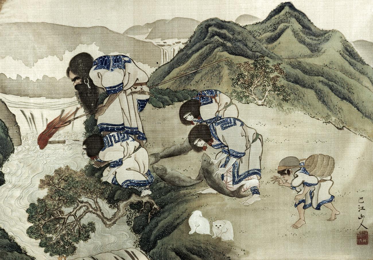 Старинная картина неизвестного японского художника, изображающая айнов на рыбалке