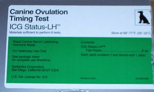 The Status-LH test kit for measurement of luteinizing hormone in canine serum (Synbiotics, San Diego CA).