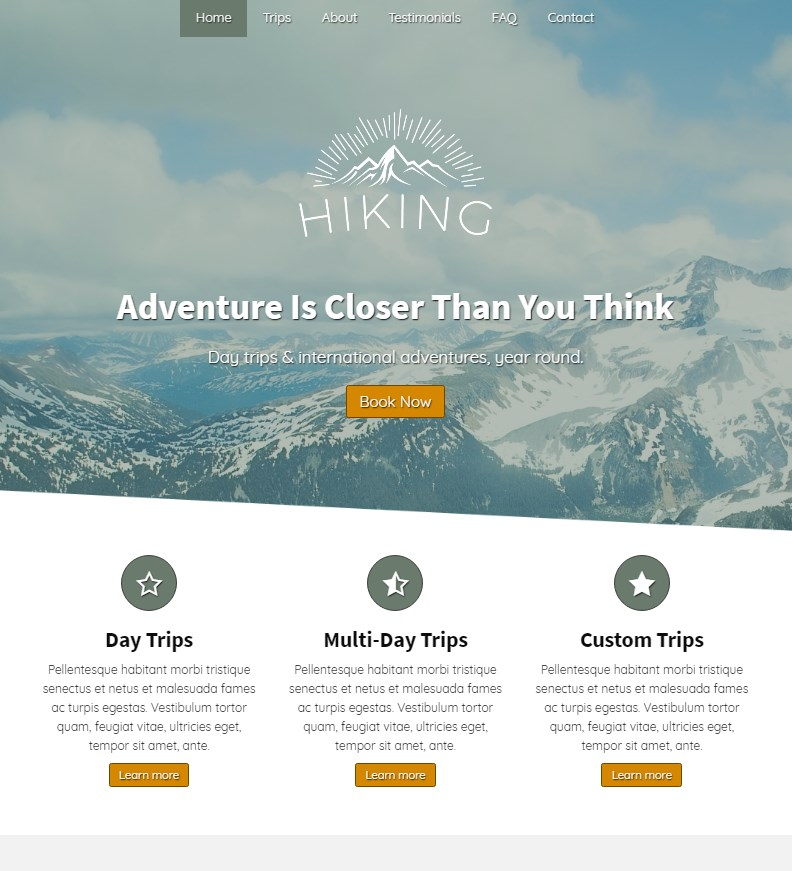 Hiking Business Website Theme