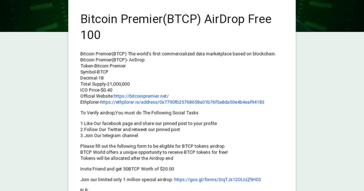 Bitcoin Premier(BTCP) AirDrop Free 100