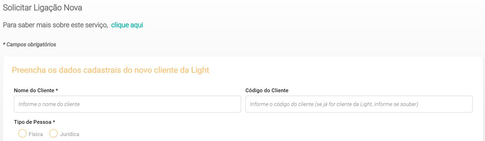 Preencha os dados do cadastro para solicitar ligação nova da Light