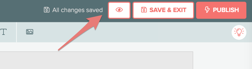 Preview, Save, and Publish buttons at top of Interact quiz design dashboard