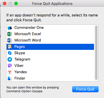 Force Quit Applications - Mac