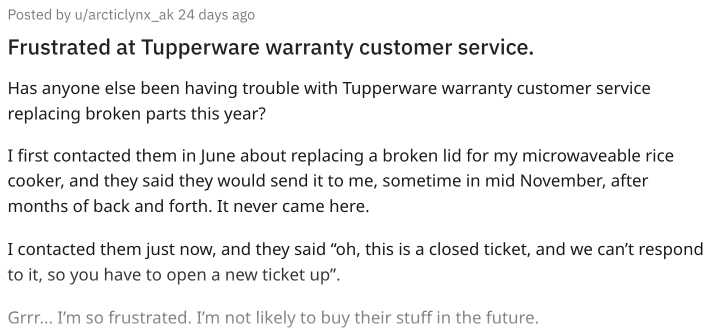 Purchaser not happy with Tupperware warranty service