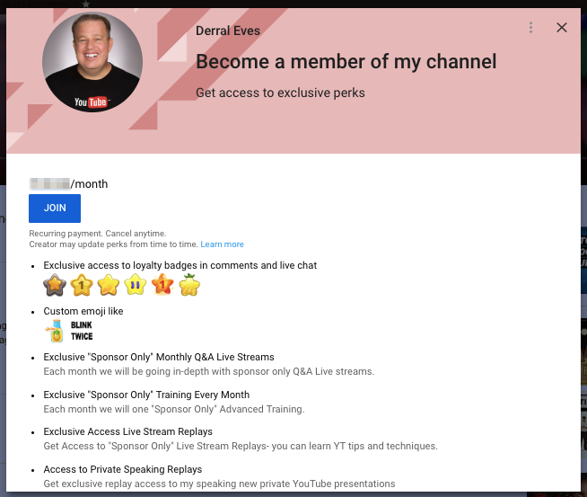Channel memberships for creators by YouTube