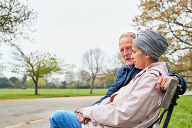 Photograph of living with cancer couple on bench
