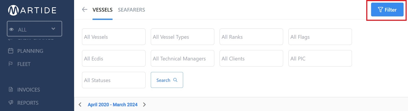 screenshot of the vessels page showing the filter button