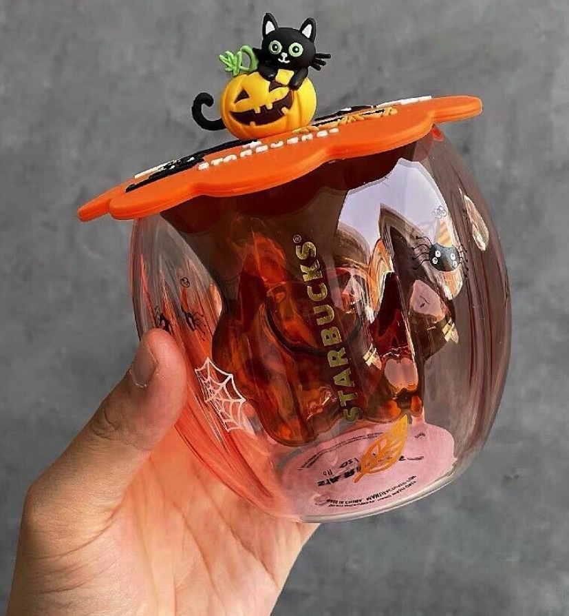 double-walled orange glass with silicone cup cover featuring a black cat on top of jack-o-lantern.