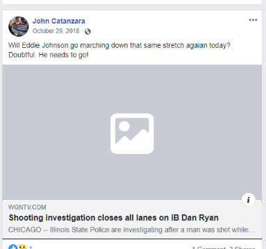Facebook post by Catanzara with link to an article on a shooting investigation causing all lans on the Dan Ryan Expressway to close