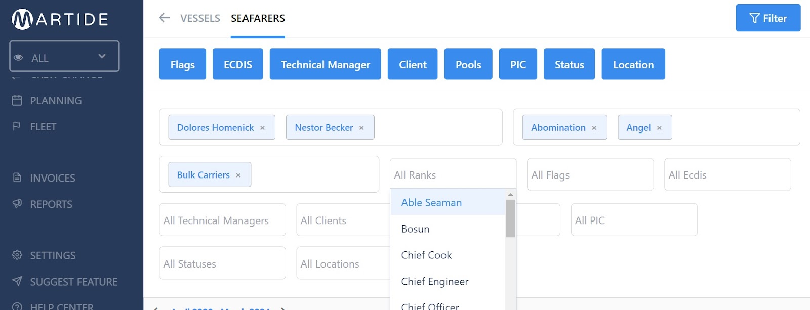 screenshot of the seafarers page showing the filters