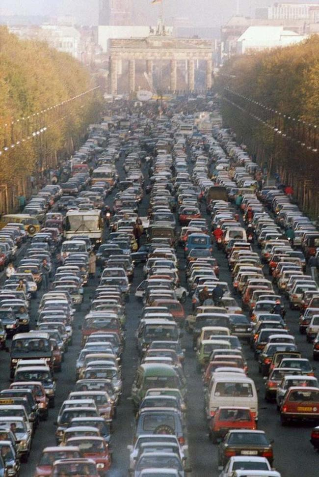 17 - Traffic jam in Berlin as the border between East and West Germany opens