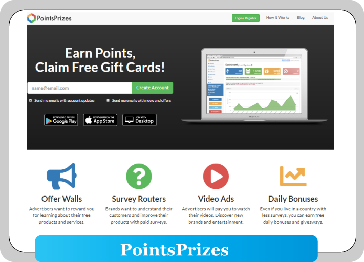 pointprizes home page where earn points and buy coc gems
