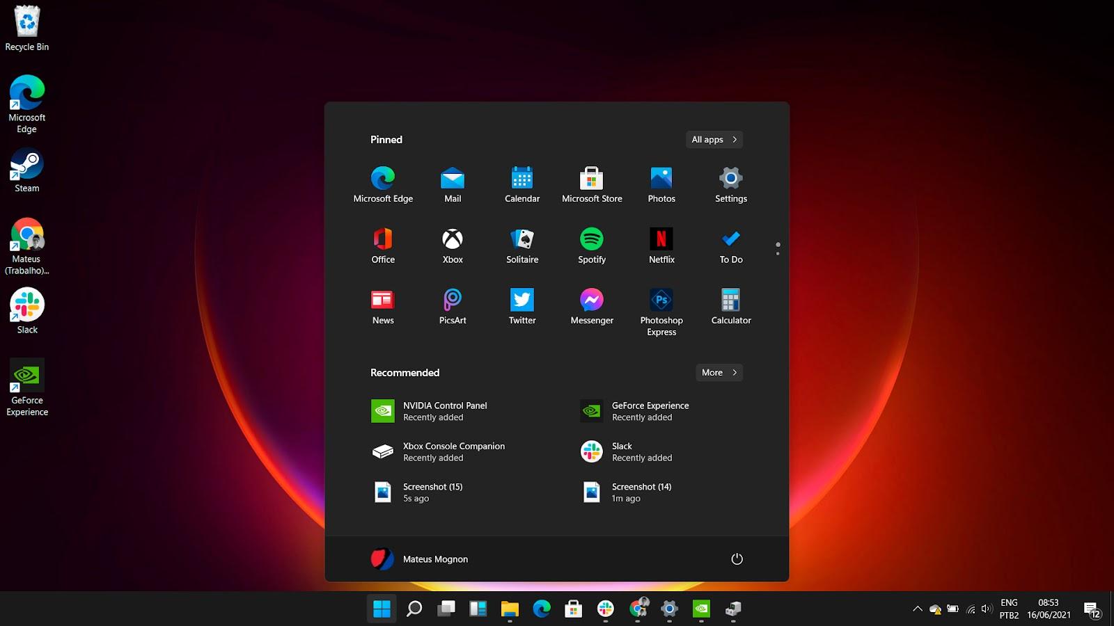 O menu do Windows 11 será central, totalmente diferente de todas as versões anteriores.