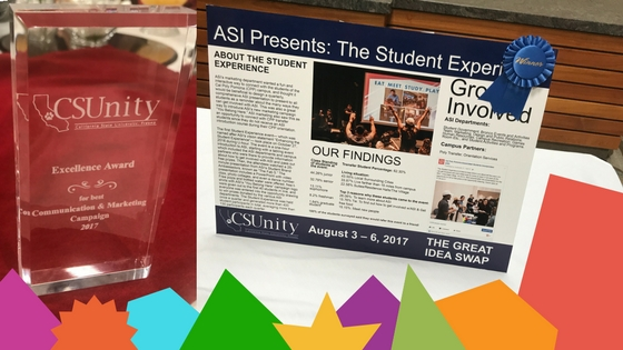 ASI Presents: The Student Experience poster wins Best Communication & Marketing Campaign at the 2017 CSUnity Conference