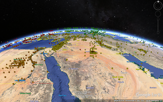 A visualization of automatically-assigned subject labels generated as a result of learning a mapping from geographic location to subject area using the New Titles dataset.
