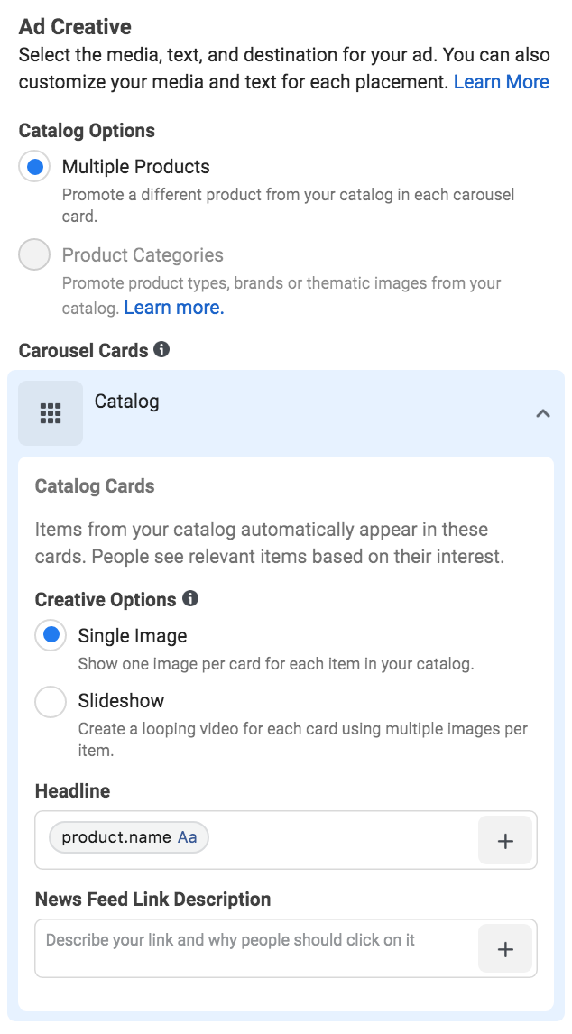 Setting your ad creative for Facebook dynamic product ads