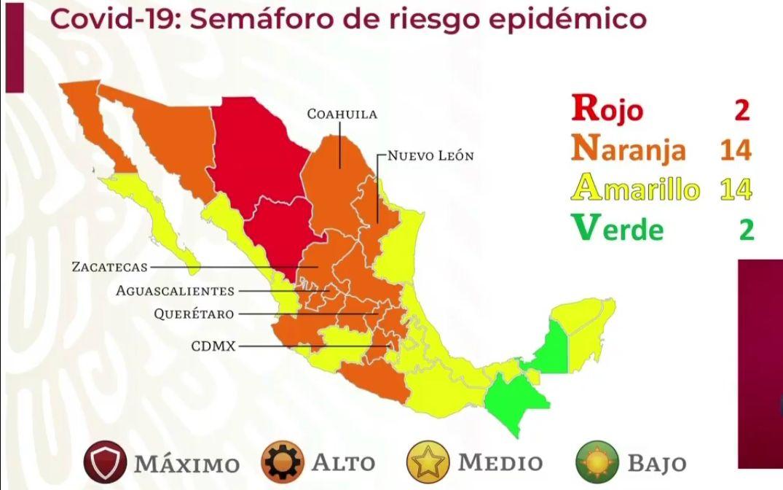 Mapa del semáforo Covid-19 en México