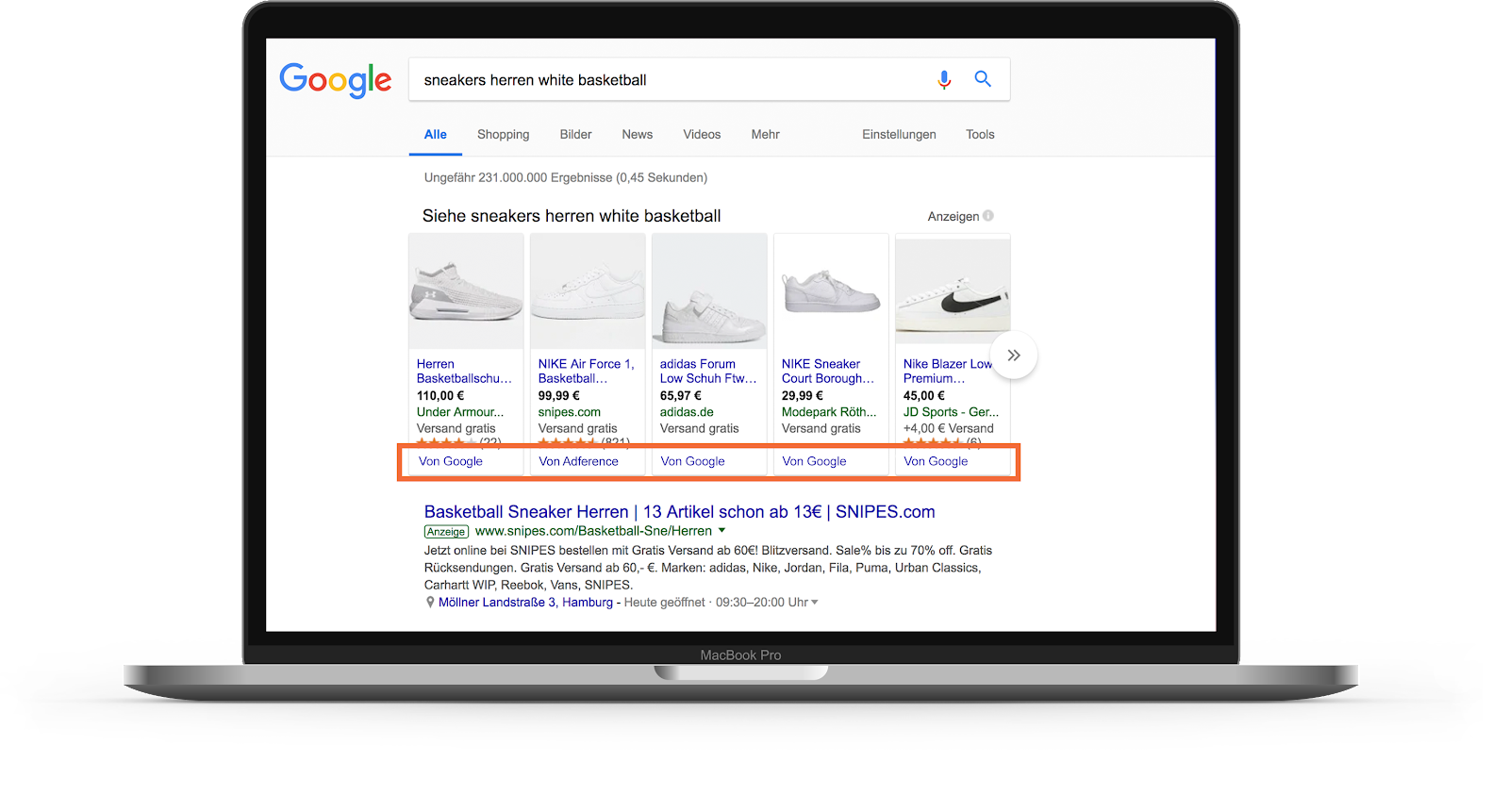 Google Shopping - CSS Partner in den Suchergebnissen
