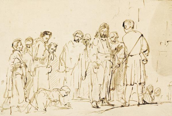 Cristo con sus discípulos y la mujer sangrante ca.  1658, pluma y tinta marrón, 6 x 9. Colección Museo Albertina, Viena, Austria.Dibujos de Rembrandt