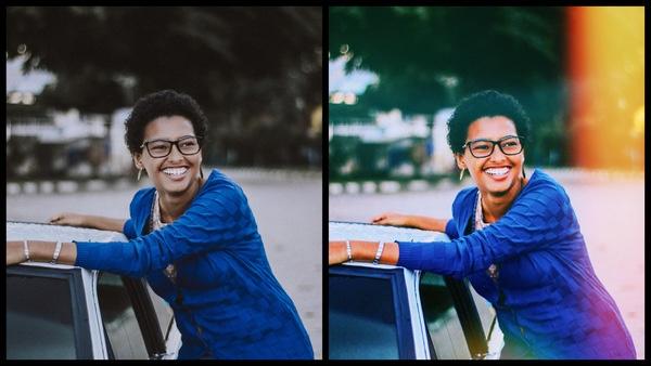 Antes e depois da edição da foto