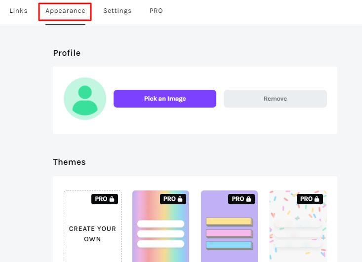 opções de personalização de perfil no Linktree