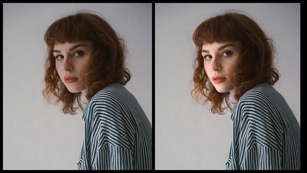 Antes e depois da foto de uma mulher ruiva sendo que uma foto está sendo usada a ferramenta Iluminação do AirBrush