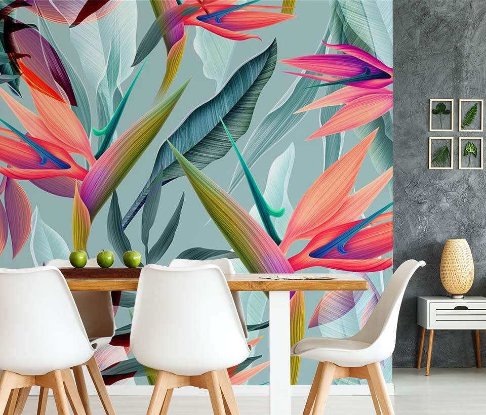 Фотообои тропические цветы в интерьере столовой