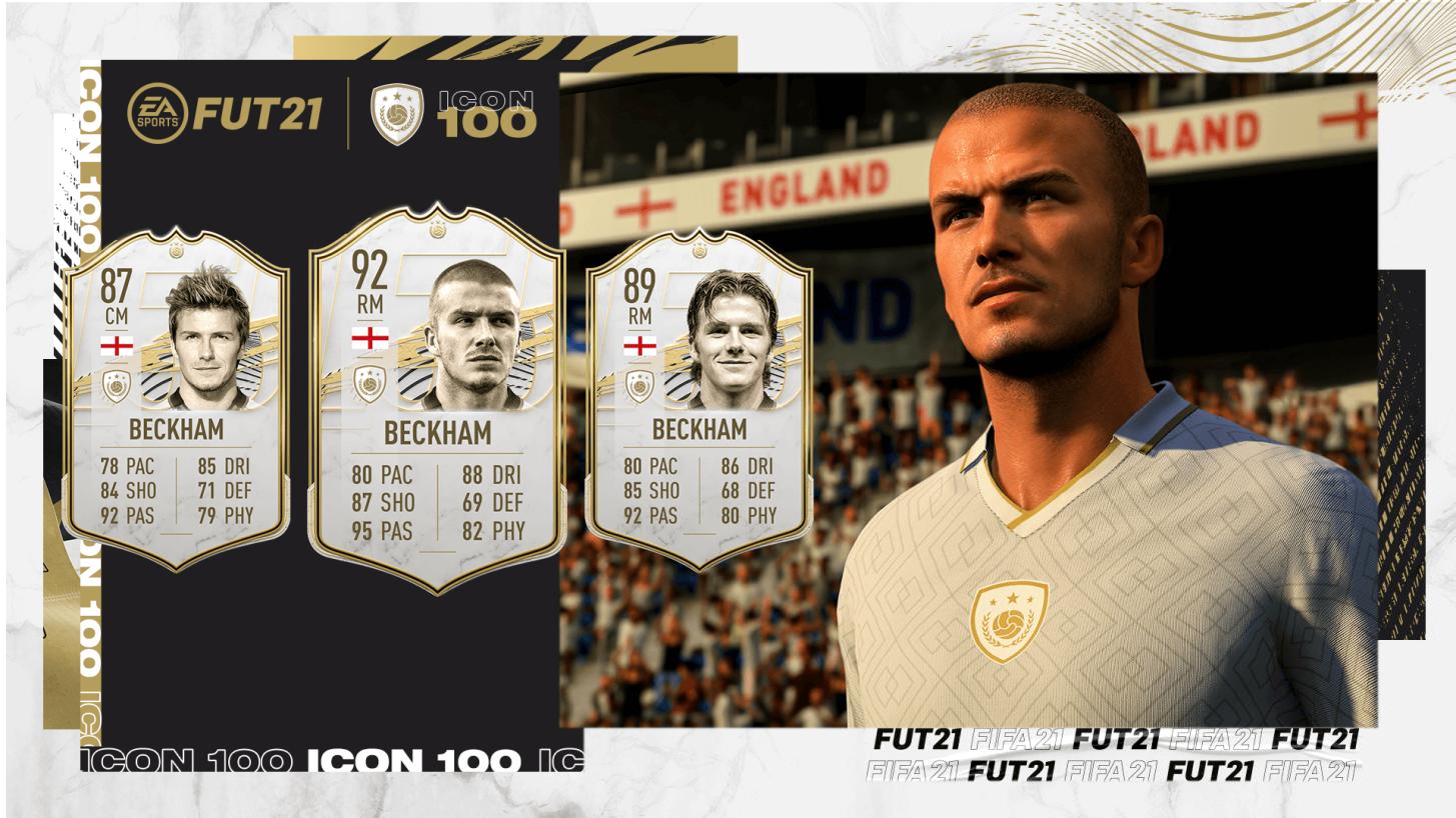 Image of are David Beckham FIFA 2021 player card.