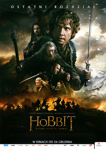 Przód ulotki filmu 'Hobbit: Bitwa Pięciu Armii'