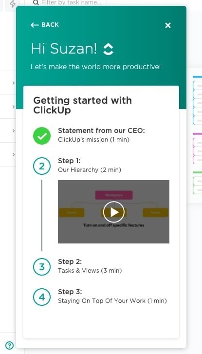 ClickUp checklists example for user onboarding