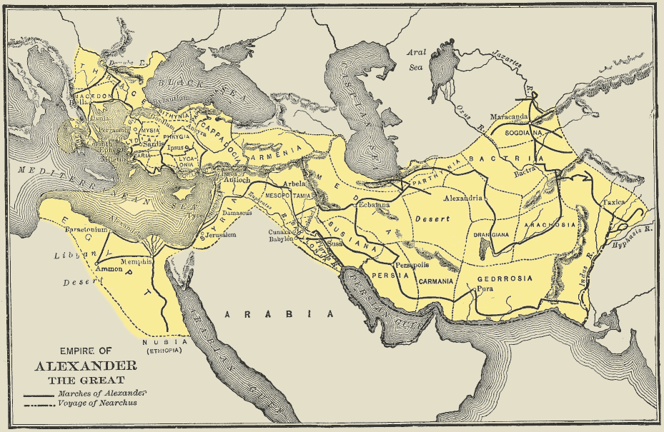 Map of Alexander's empire, stretching from Macedon as far as western India.
