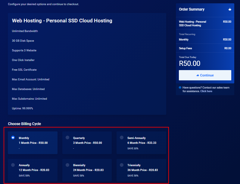 cost of web hosting in south africa