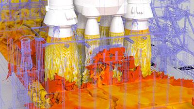 Image of a simulation of Space Launch System (SLS) exhaust gas flow at the Launch Complex 39B at Kennedy Space Center.