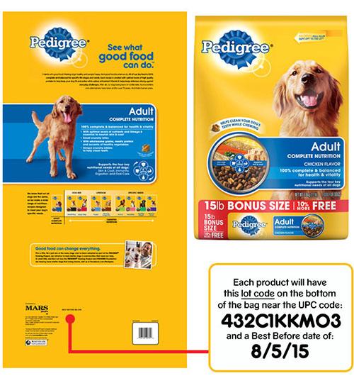 Label, Pedigree Adult Complete Nutrition Dog Food, Chicken Flavor, 15lb.