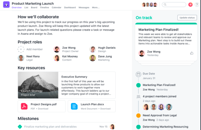 Asana, one of the most powerful time management tools