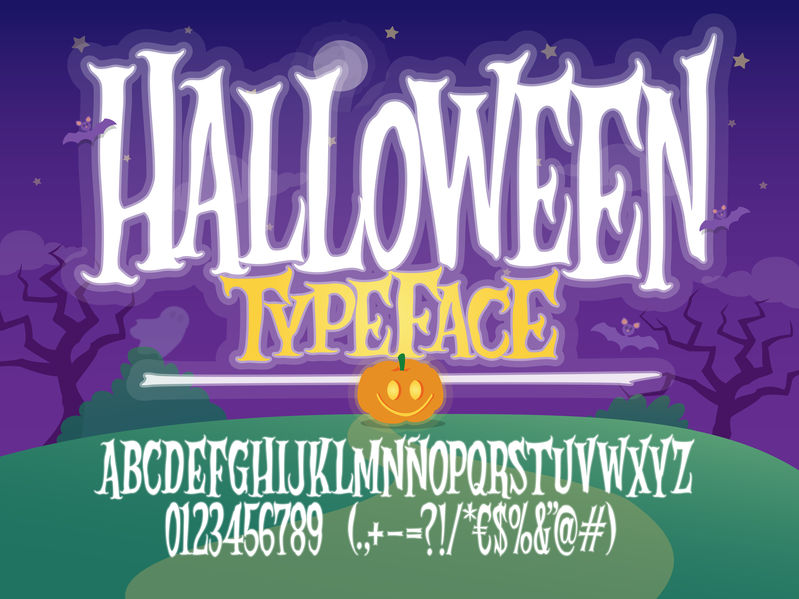Halloween typeface set for your Halloween fonts inspiration.