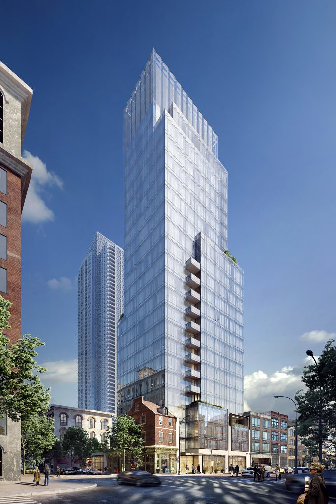 Rendering of Toll Brothers Glass Condo Tower on Sansom Street