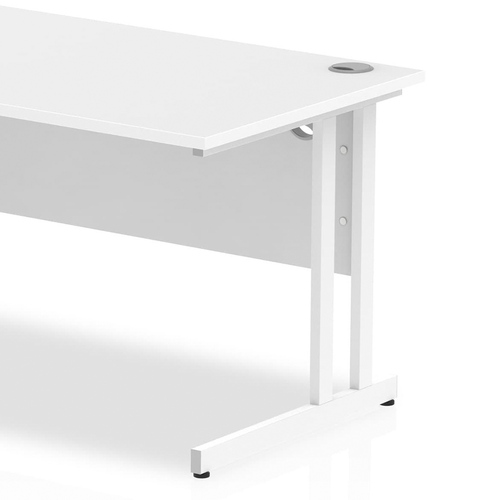 AOffice desk for home or office working - cantilever desks, rectangular, writing desks with metal frame and legs, white coated and including 2 cable ports.