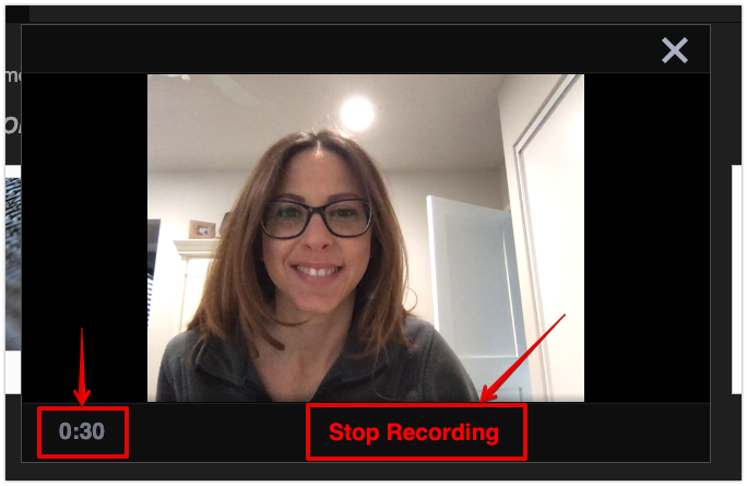Timer and stop recording button in VoiceThread