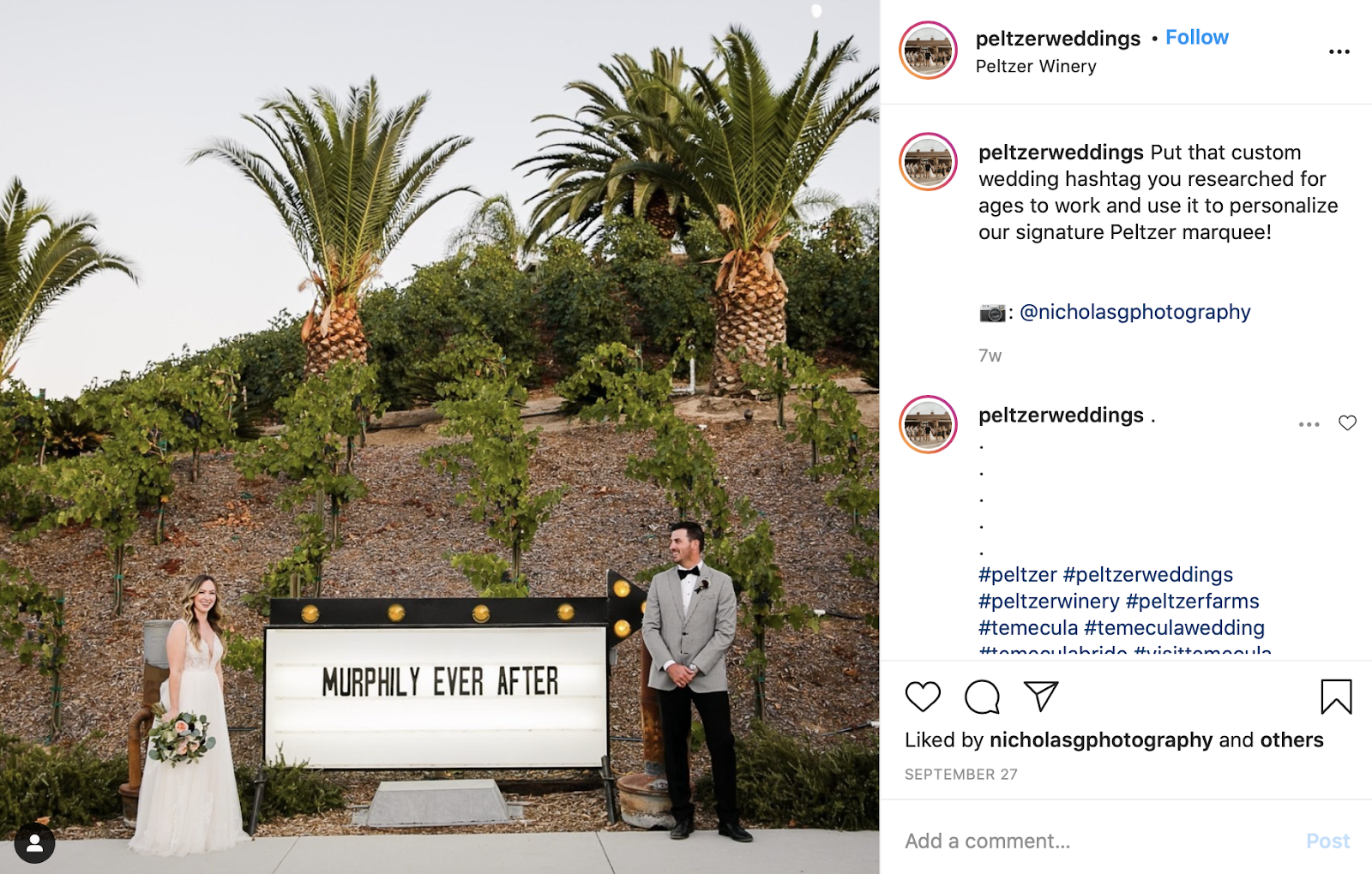 hashtag being used at the wedding