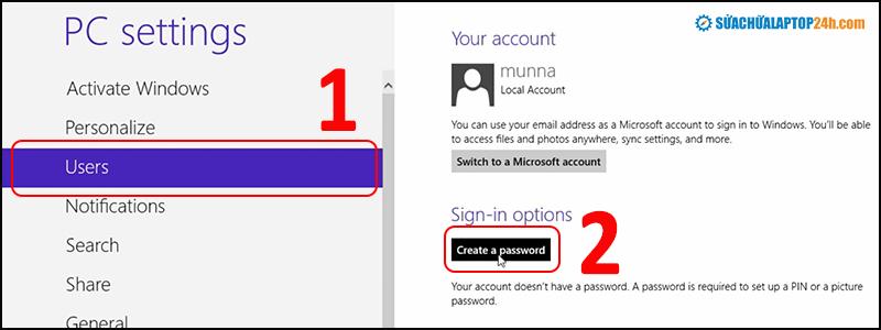 Đặt mật khẩu laptop windows 8