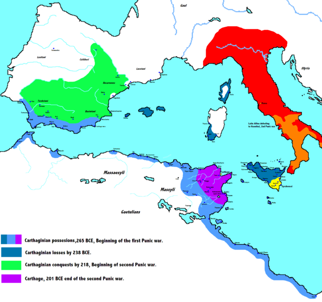 Map of the declining Carthaginian empire over the course of the Punic Wars.