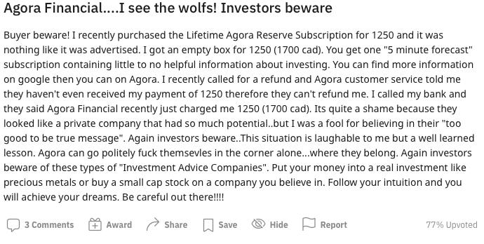 Agora Financial Reddit