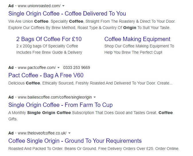 an example of PPC ads in seach engine results