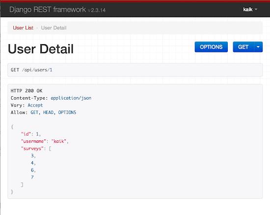 Pantallazo front-end Django REST Framework