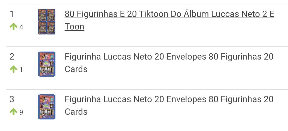 Ranking de figuritas de LuccasToon más vendidas en Brasil