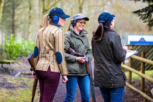 three women at a shooting day